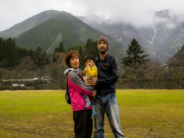 L to R My wife Shiori, our son Bon and me